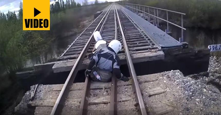 Watch This Adventure Rider Fall Through a RailRoad Bridge!