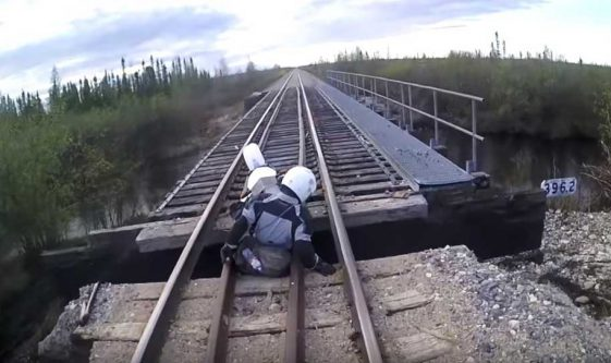 Adventure Motorcycle ride to Churchill, Manitoba in Canada. Bridge Fall.
