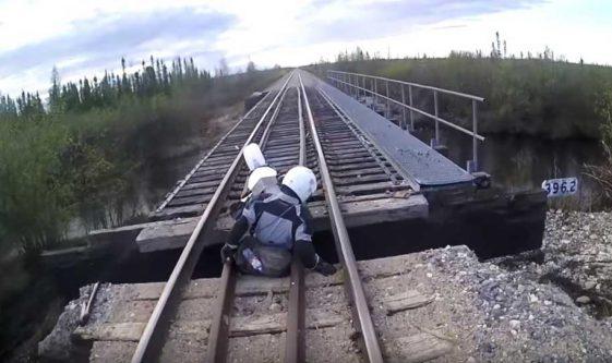Adventure Motorcycle ride to Churchill, Manitoba in Canada. Bridge Fall.