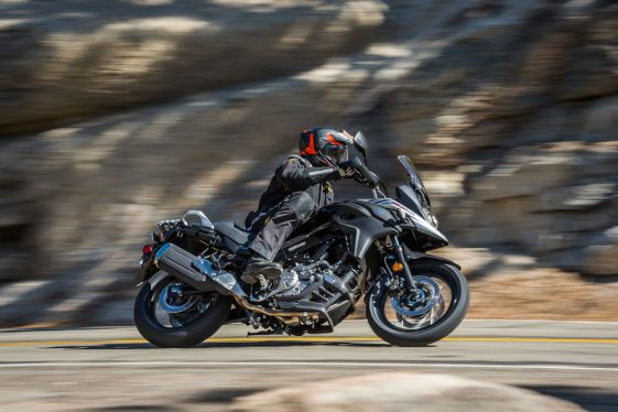 Suzuki V-Strom 650 cornering in the twisties.