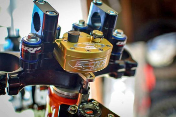 KTM 690 Enduro Bike Build BRP Sub Mount/Scott's Steering Stabilizer