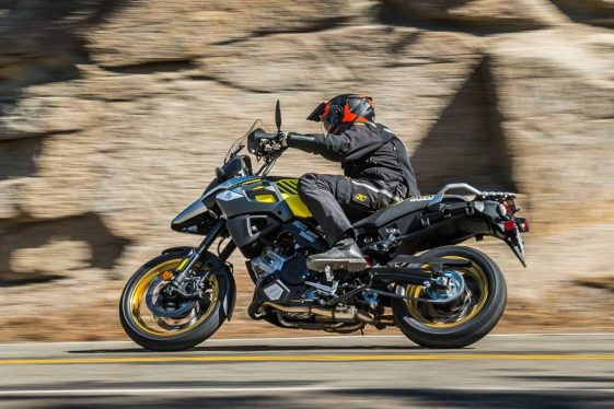 Suzuki V-Strom 1000XT dual sport motorcycle on the road