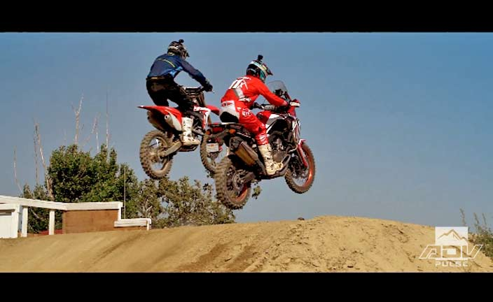 Johnny Campbell races the Honda Africa Twin at Glen Helen Motocross Track