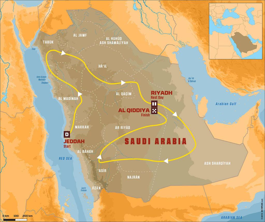 Dakar 2020 Saudi Arabia route
