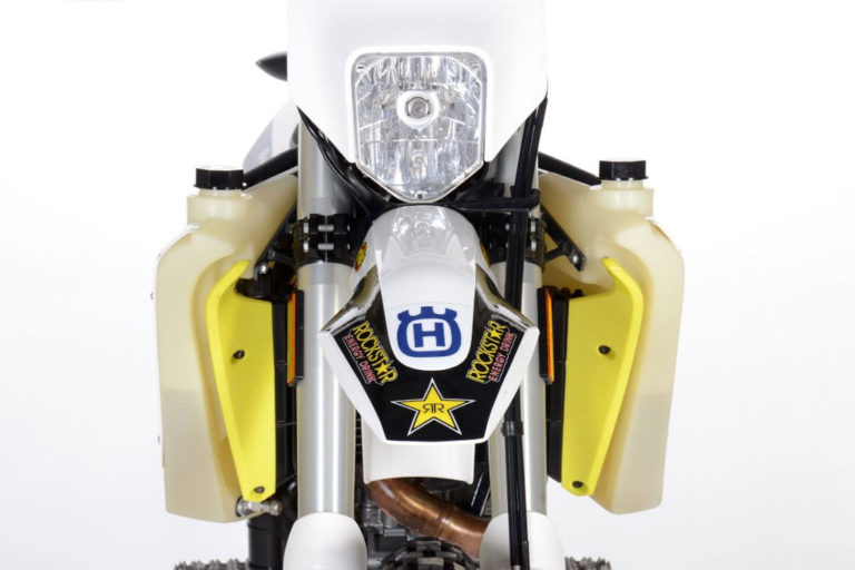 Front view of the Husqvarna 701 IMS fuel tanks.