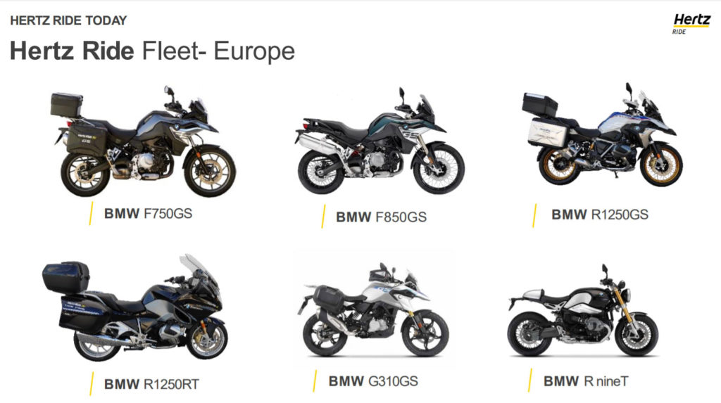 Hertz Ride motorcycle fleet in Europe