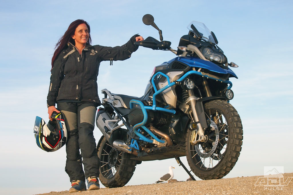 Jocelin Snow next to the big-bore BMW GS Adventure