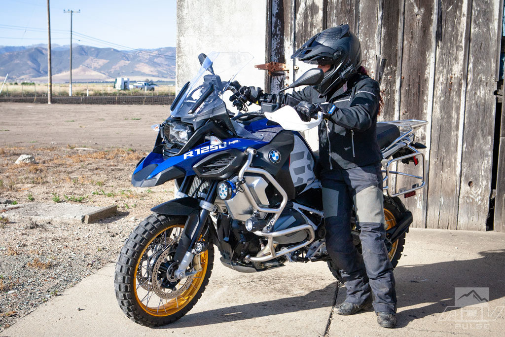 Jocelin Snow getting ready to ride the BMW R1250GS Adventure