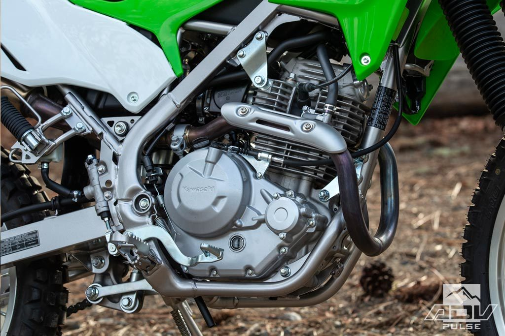 Kawasaki KLX230 air-cooled, fuel-injected 233cc powerplant.