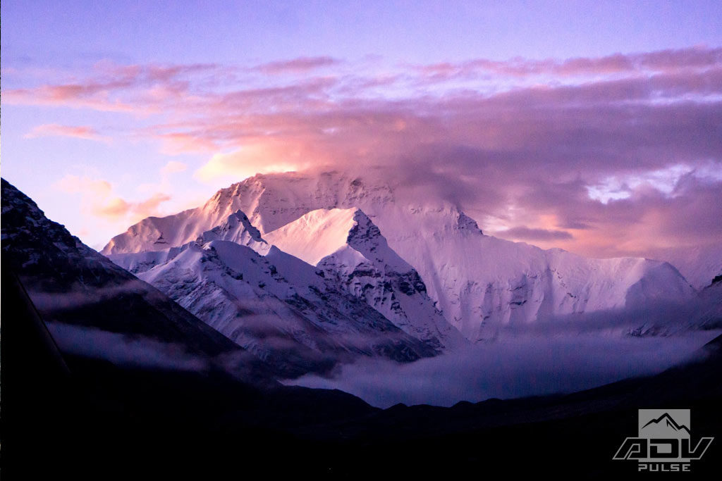 A view of Everest after motorcycle journey