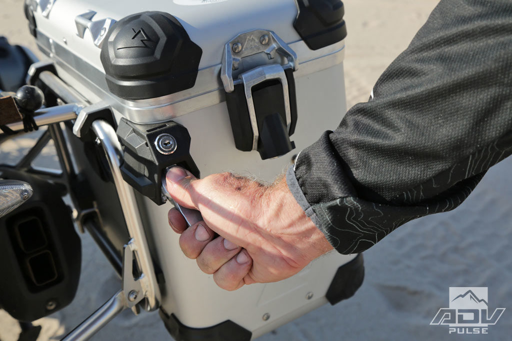 Touratech's new pannier latch mounting system.
