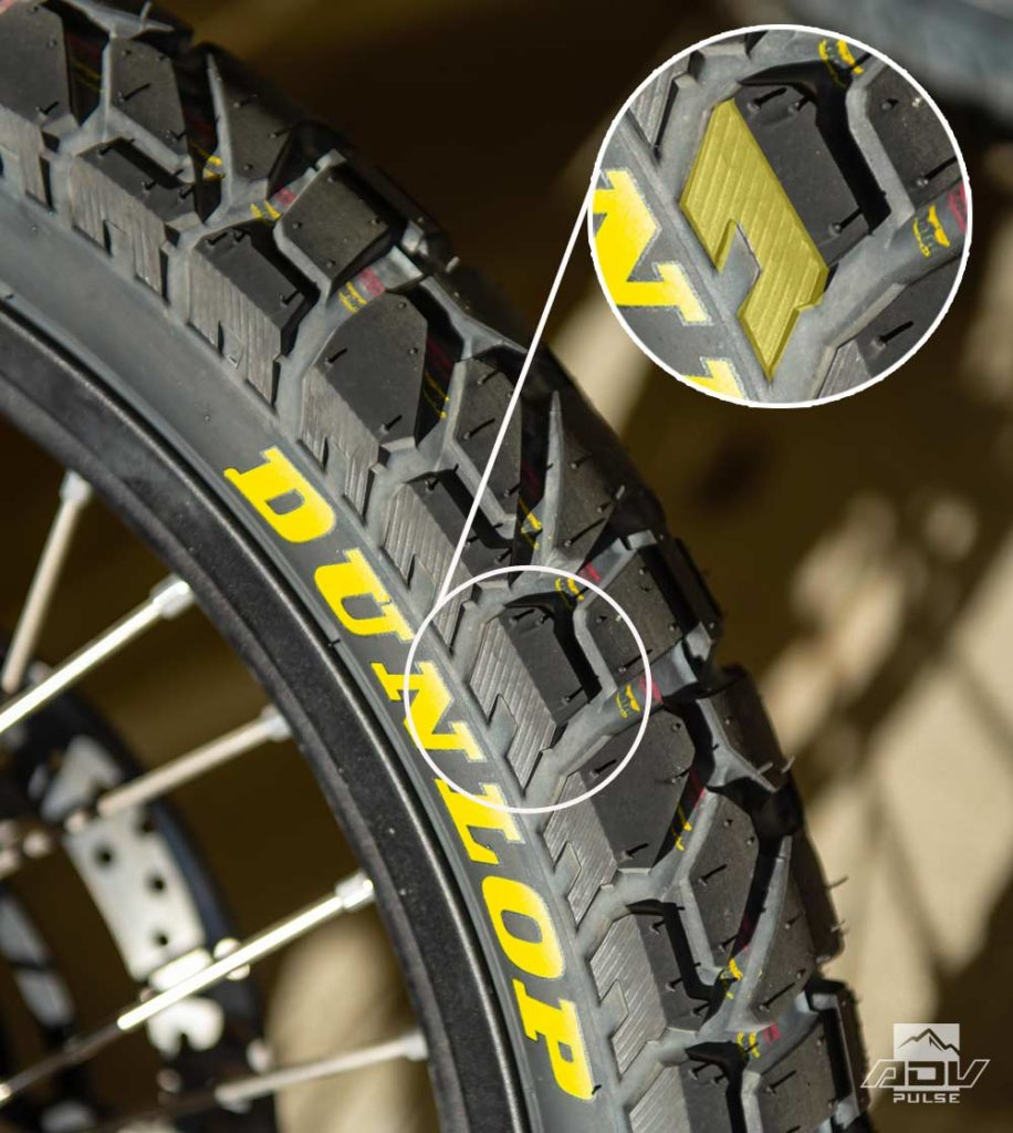 Dunlop Trailmax Mission front tire sidewall lugs.