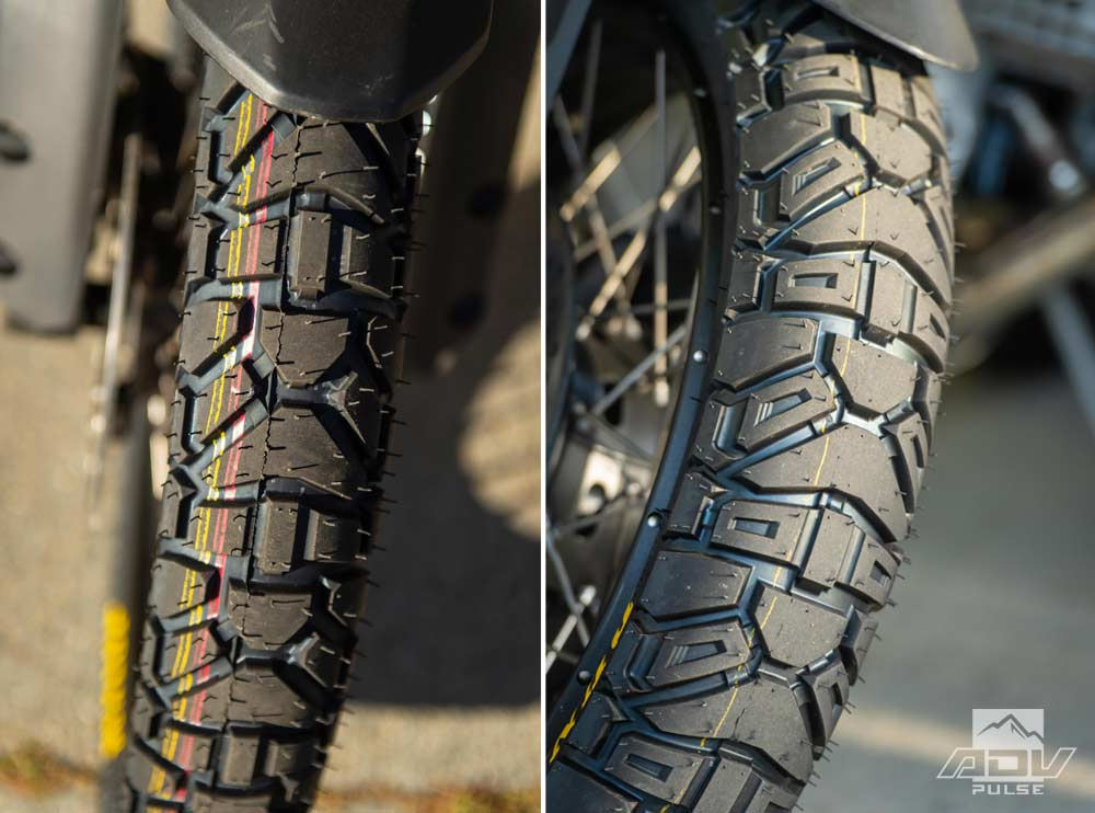 Dunlop Trailmax Mission different front tire designs.