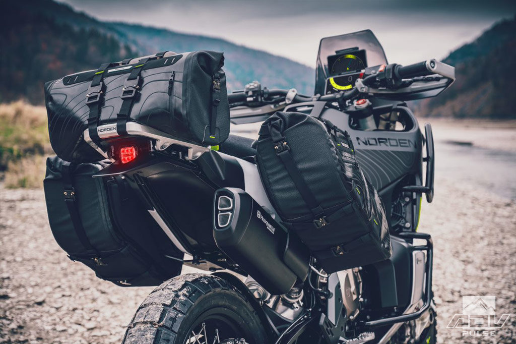 Travel-ready with soft bags on the Husqvarna Norden 901 concept