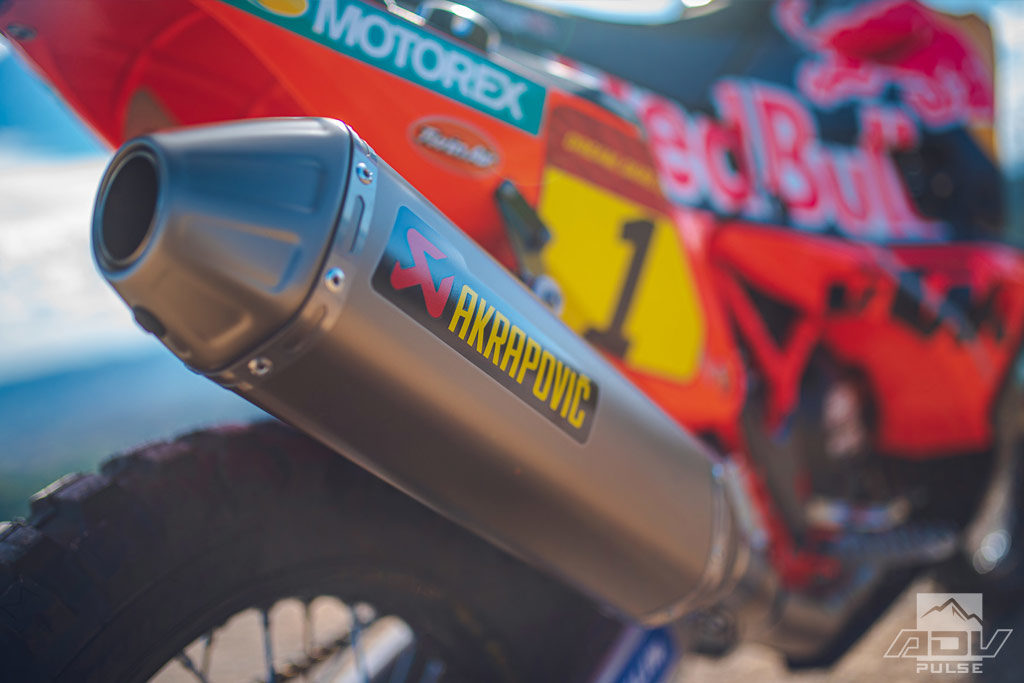 KTM 450 rally bike Akrapovic exhaust system
