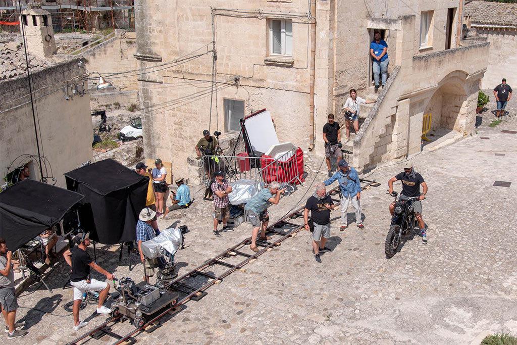Triumph Scrambler 1200 XE on set James Bond movie