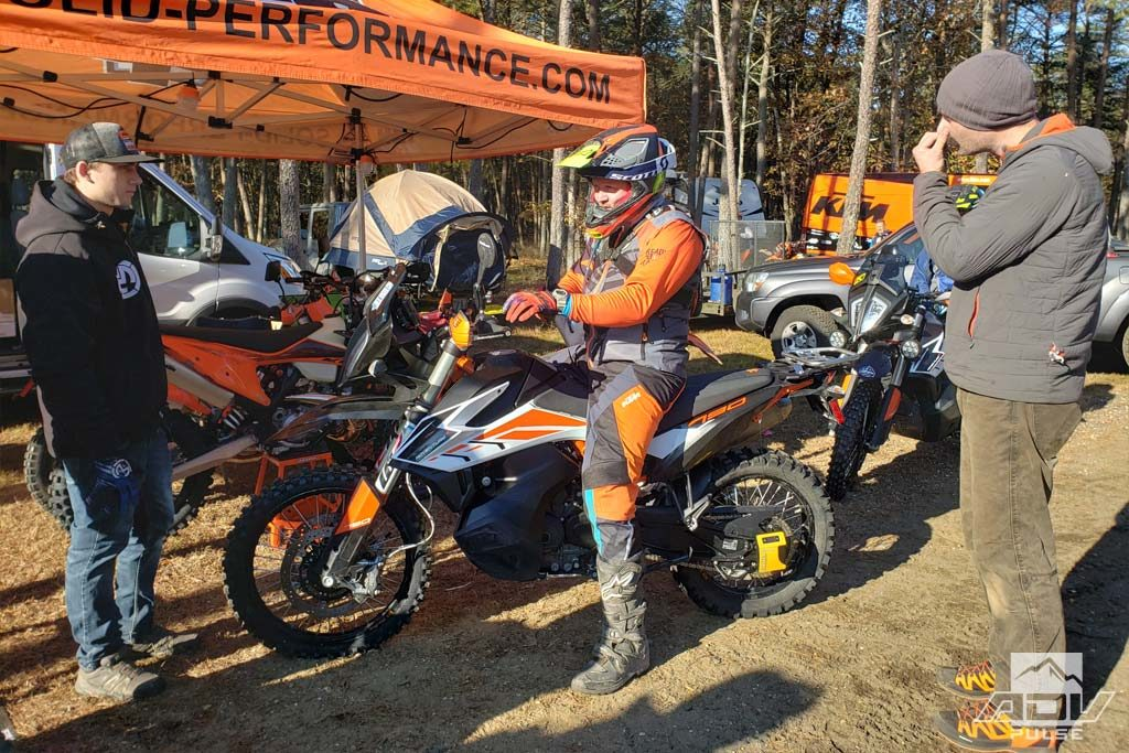 Mike Lafferty getting suspension dialed at on his KTM 790 Adventure R the Hammer Run