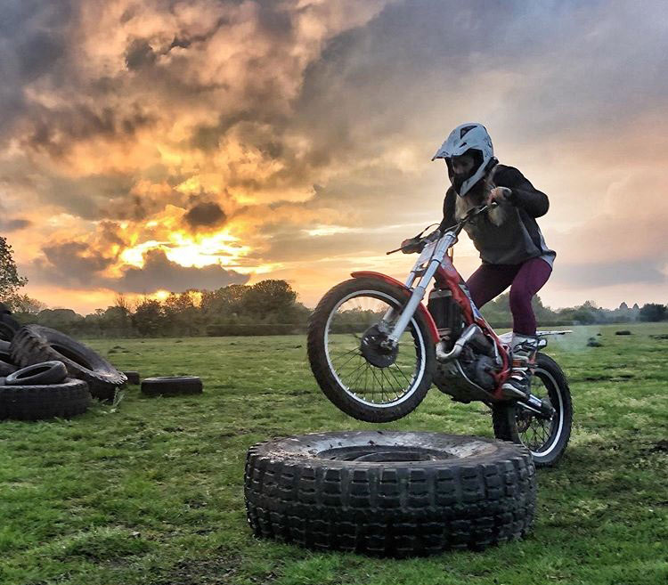 Vanessa Ruck training for rally races on trials bike
