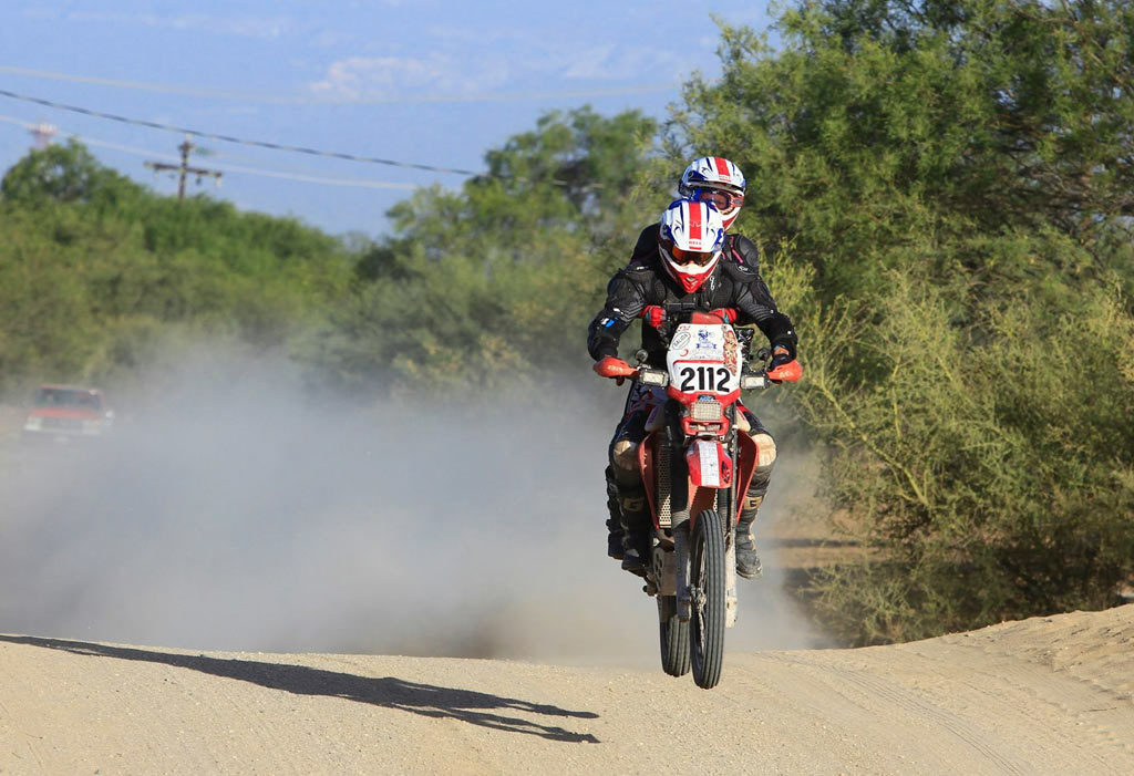 Racing motorcycles two-up Honda XR650R