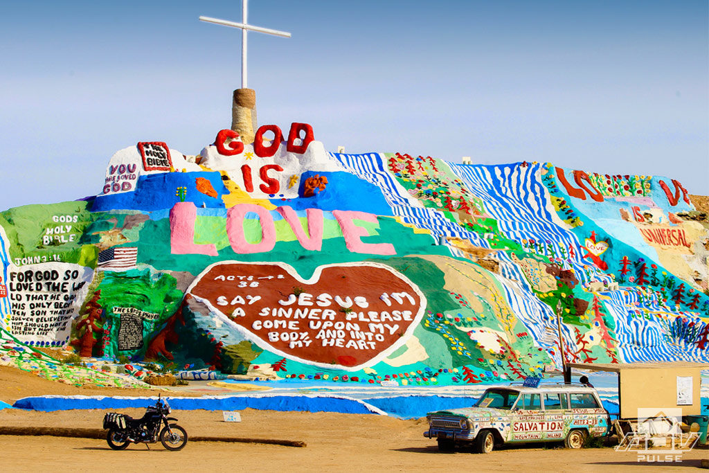 Salvation Mountain is a strange location with lots of desert art.