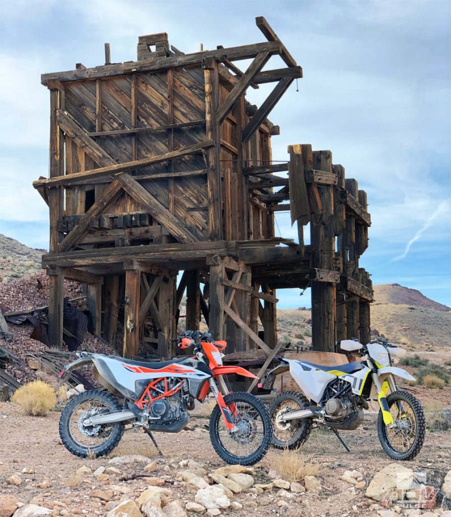 KTM 690 and Husqvarna 701 Enduro at Mayflower Mine in Death Valley.