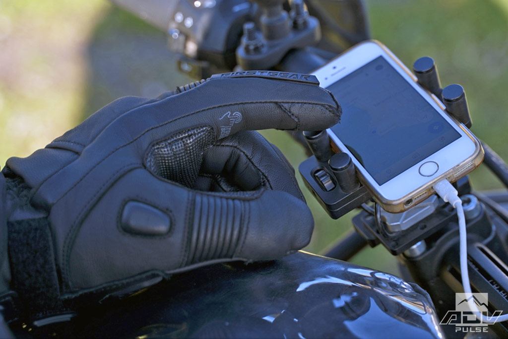 Touchscreen compatible Outrider Heated Gloves.
