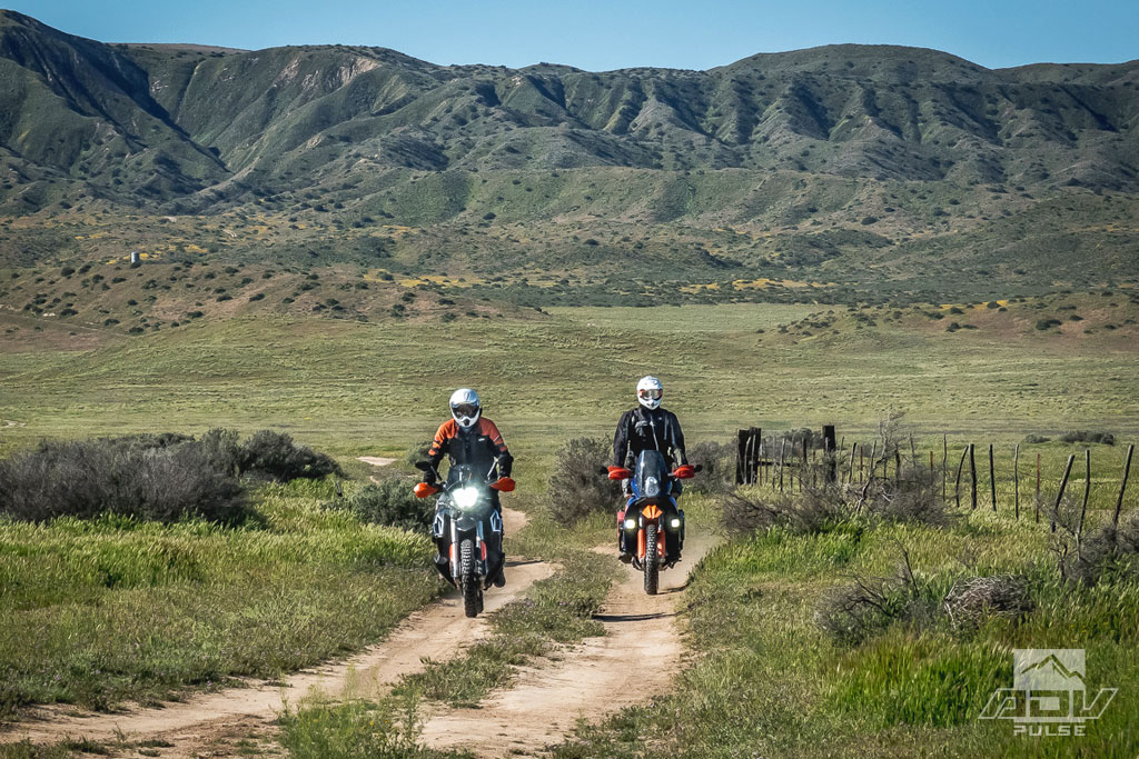 KTM 950 Adventure S and KTM 790 Adventure R at the Carrizo Plain National Monument.