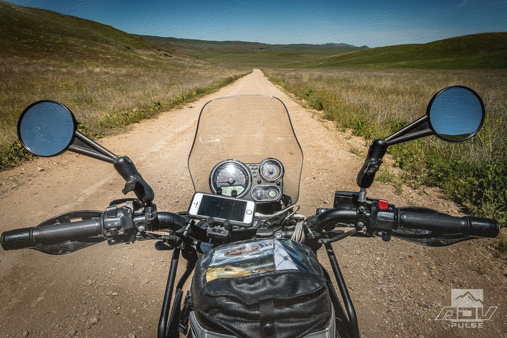 Riding a Royal Enfield Himalayan to the Carrizo Plain National Monument.