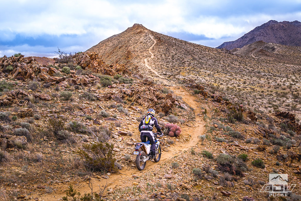 Riding to the Husky Monument in the Mojave Desert