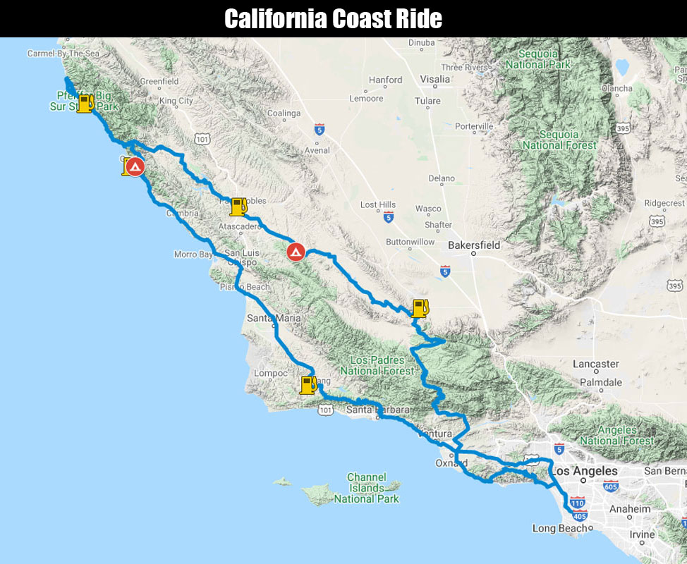 California Coast Ride Map