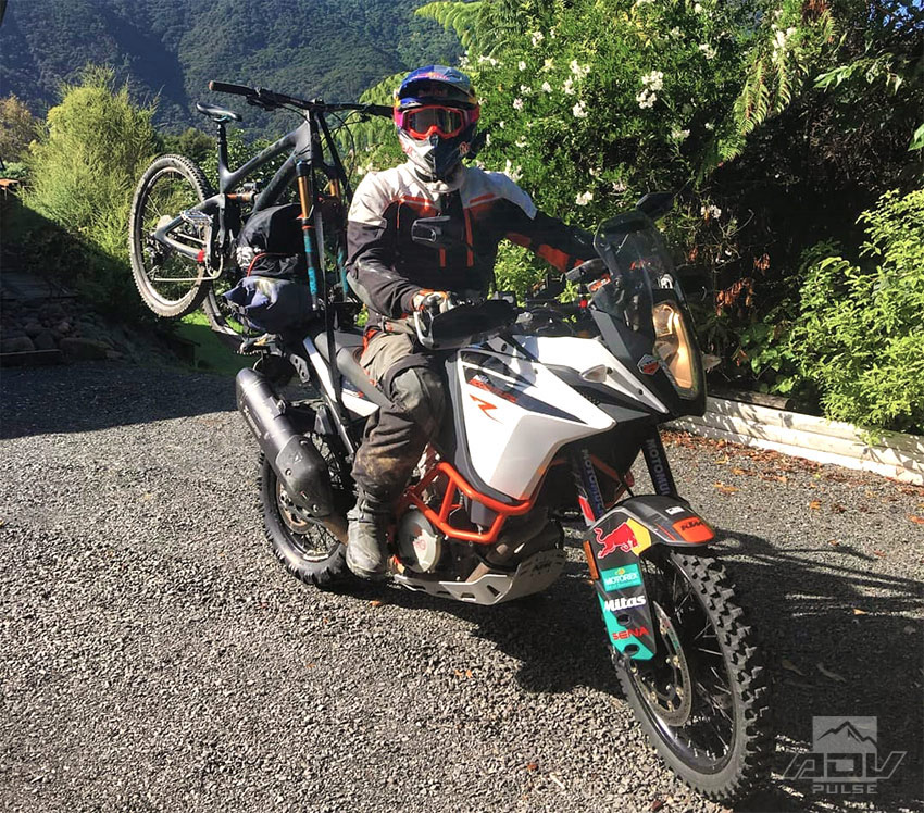 Chris Birch mountain bike rack on his adventure motorcycle