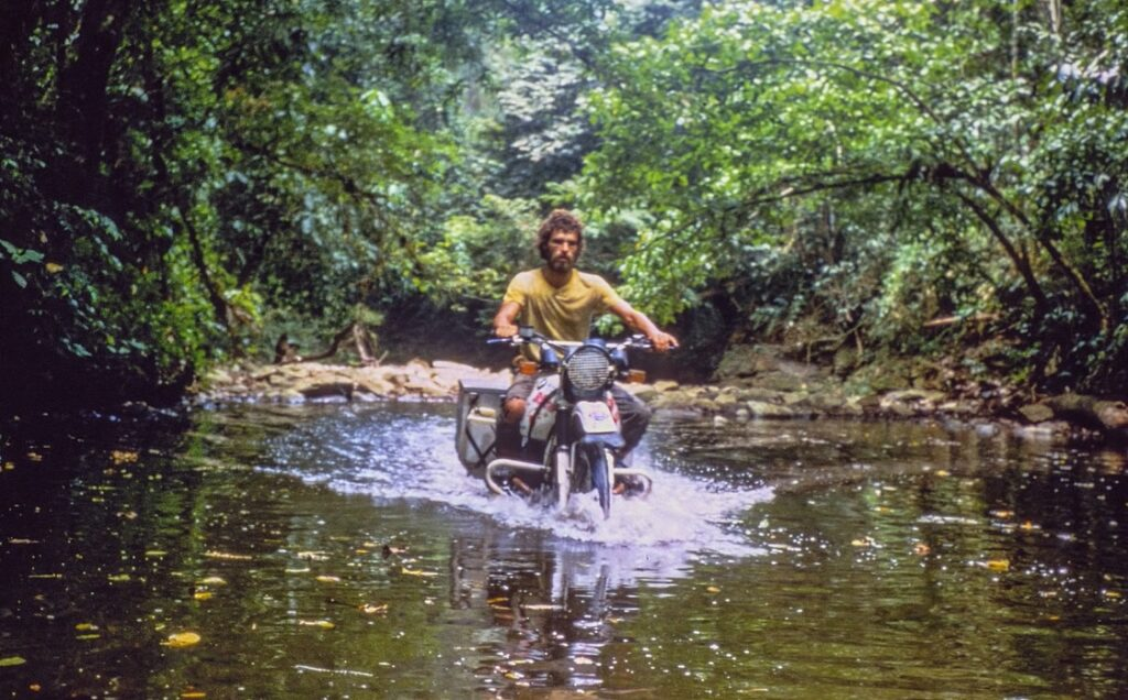 Helge Pedersen crossing Darien Gap on BMW R80 G/S