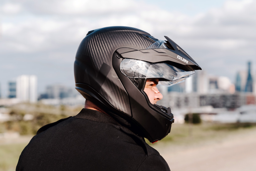 Quin Design smart adventure motorcycle modular helmet