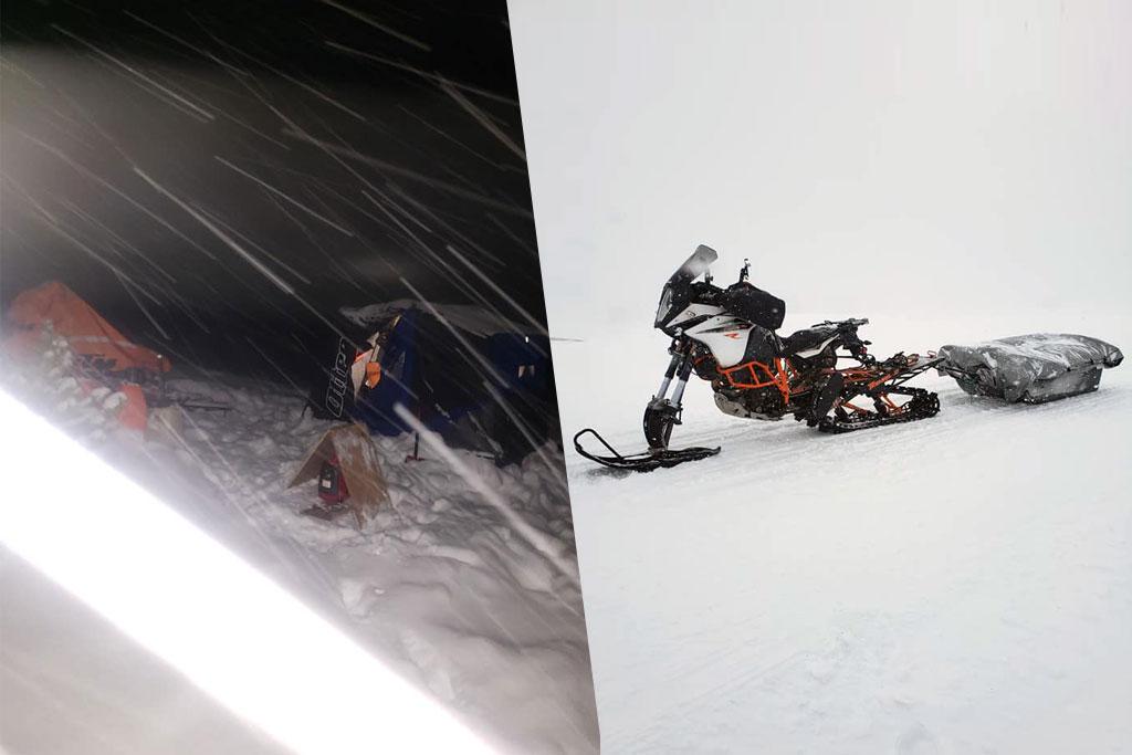 KTM 1090 Adventure R snow bike globe circumnavigation
