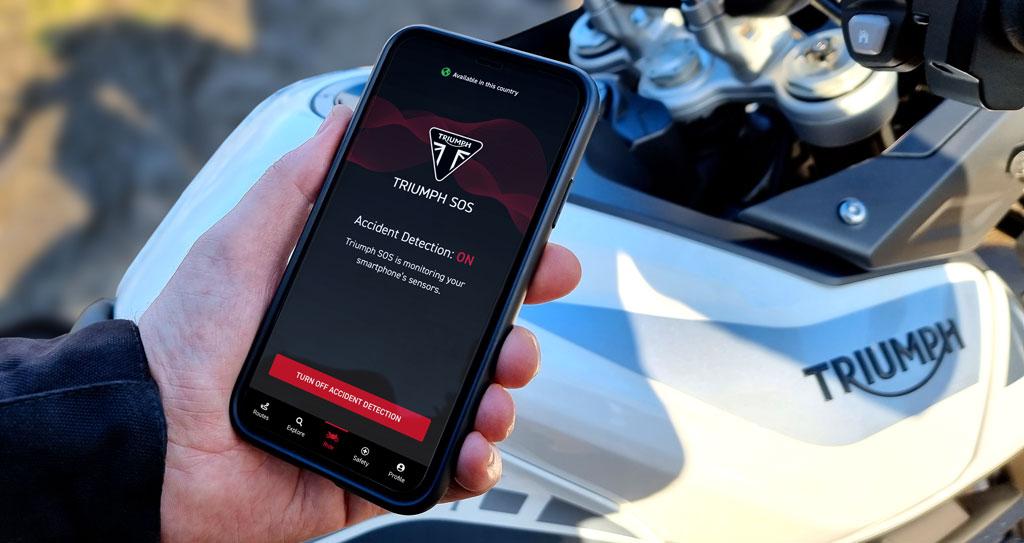 Triumph SOS app emergency alert system for motorcyclists