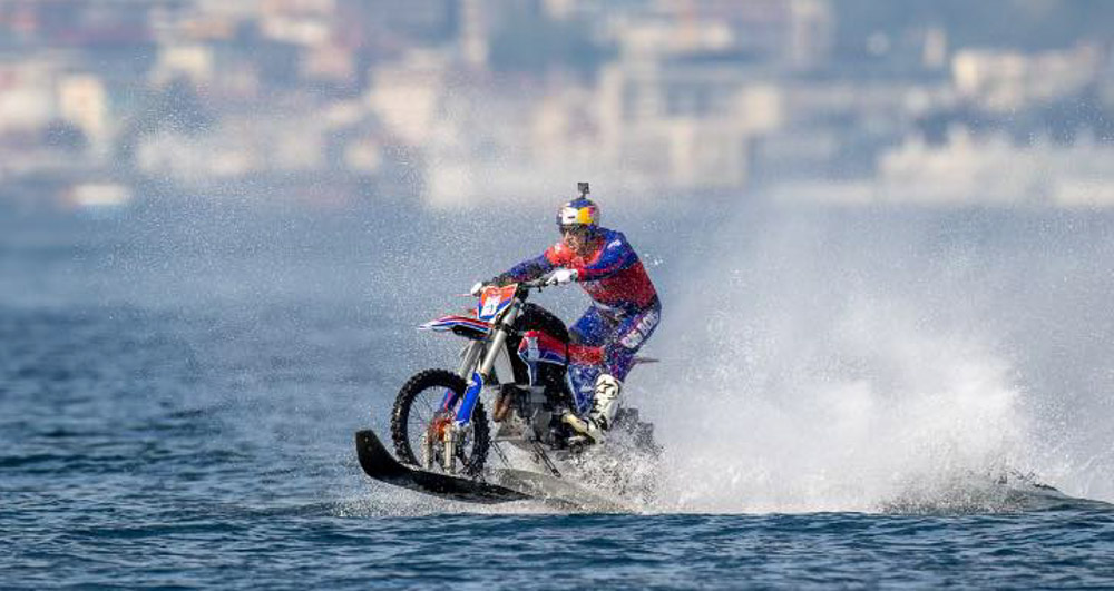 Robbie Maddison sets world record riding motorcycle on water from Europe to Asia